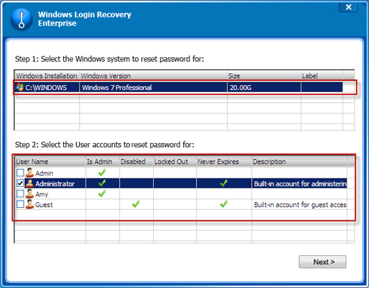 reset windows local password