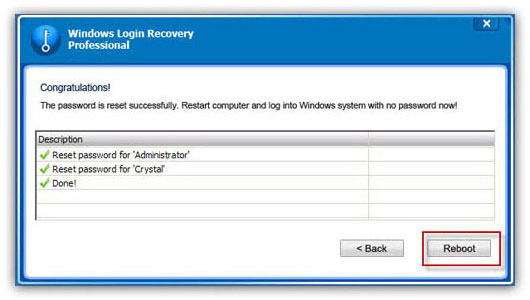Windows 7 password reset screenshot