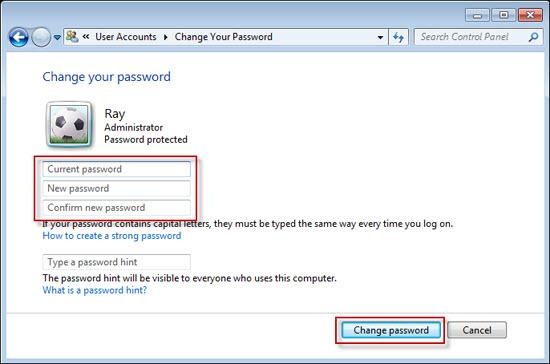 how to show password hint windows 7